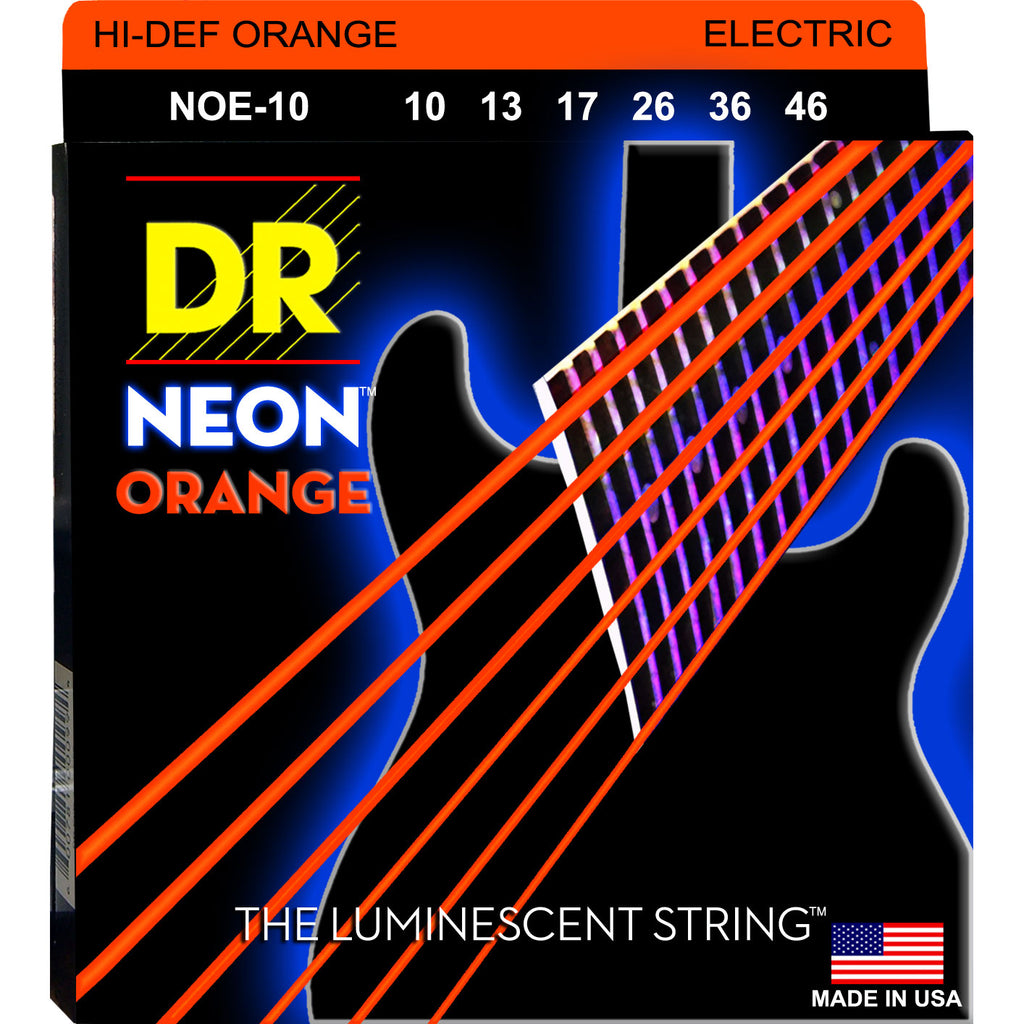 DR Strings NOE-10 Neon Hi-Def Orange Medium 10-46 Electric Guitar Strings