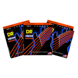 3 Sets DR Strings NOE-11 Neon Hi-Def Orange Heavy 11-50 Electric Guitar Strings