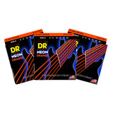3 Sets DR Strings NOE-9 Neon Hi-Def Orange Light 9-42 Electric Guitar Strings