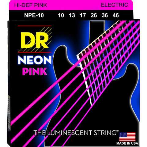 DR Strings NPE-10 Neon Hi-Def Pink Medium 10-46 Electric Guitar Strings