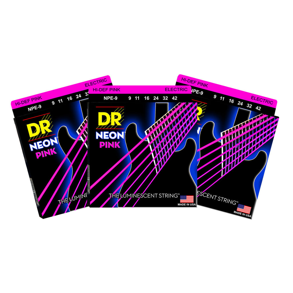 3 Sets DR Strings NPE-9 Neon Hi-Def Pink Light 9-42 Electric Guitar Strings