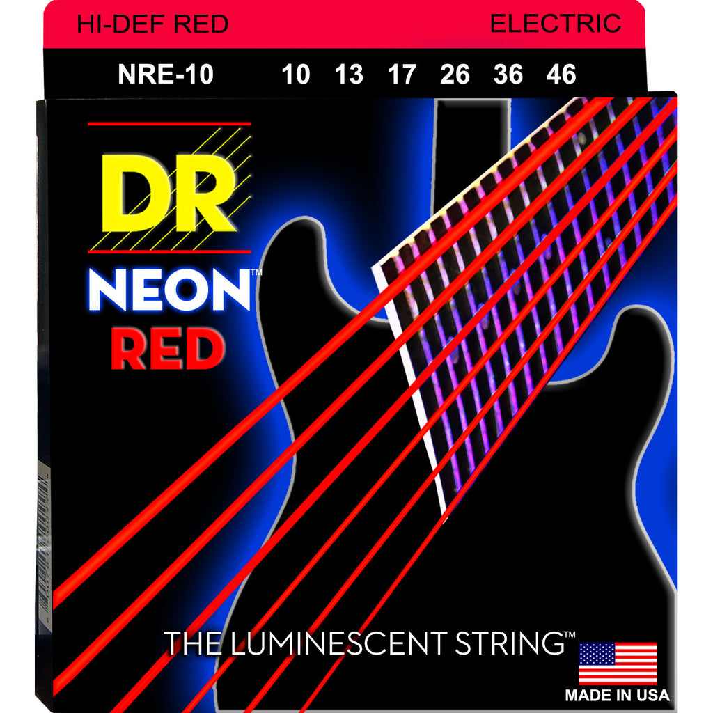 DR NRE-10 Neon Red Light 10-46 Electric Guitar Strings