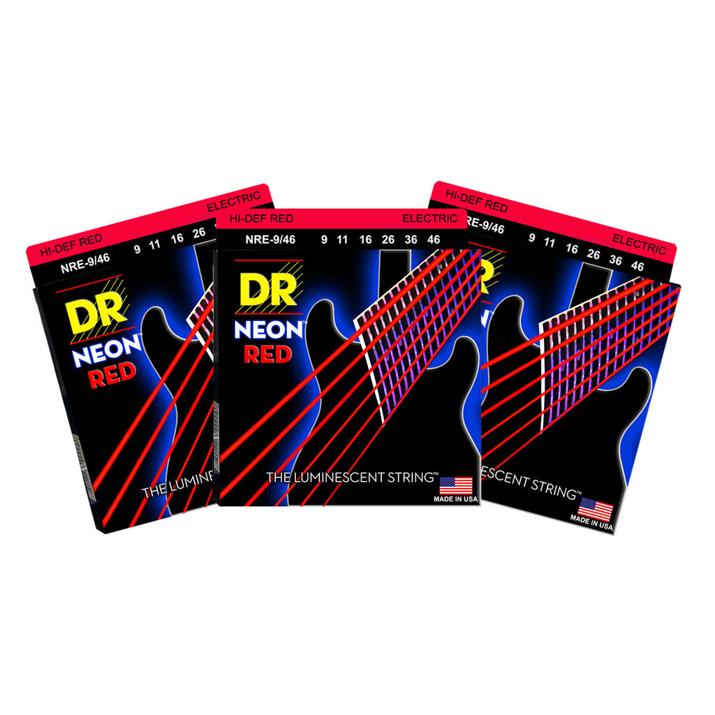 3 Sets DR NRE-9/46 Neon Red Light 9-46 Electric Guitar Strings