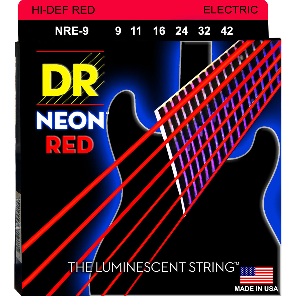 DR NRE-9 Neon Red Light 9-42 Electric Guitar Strings