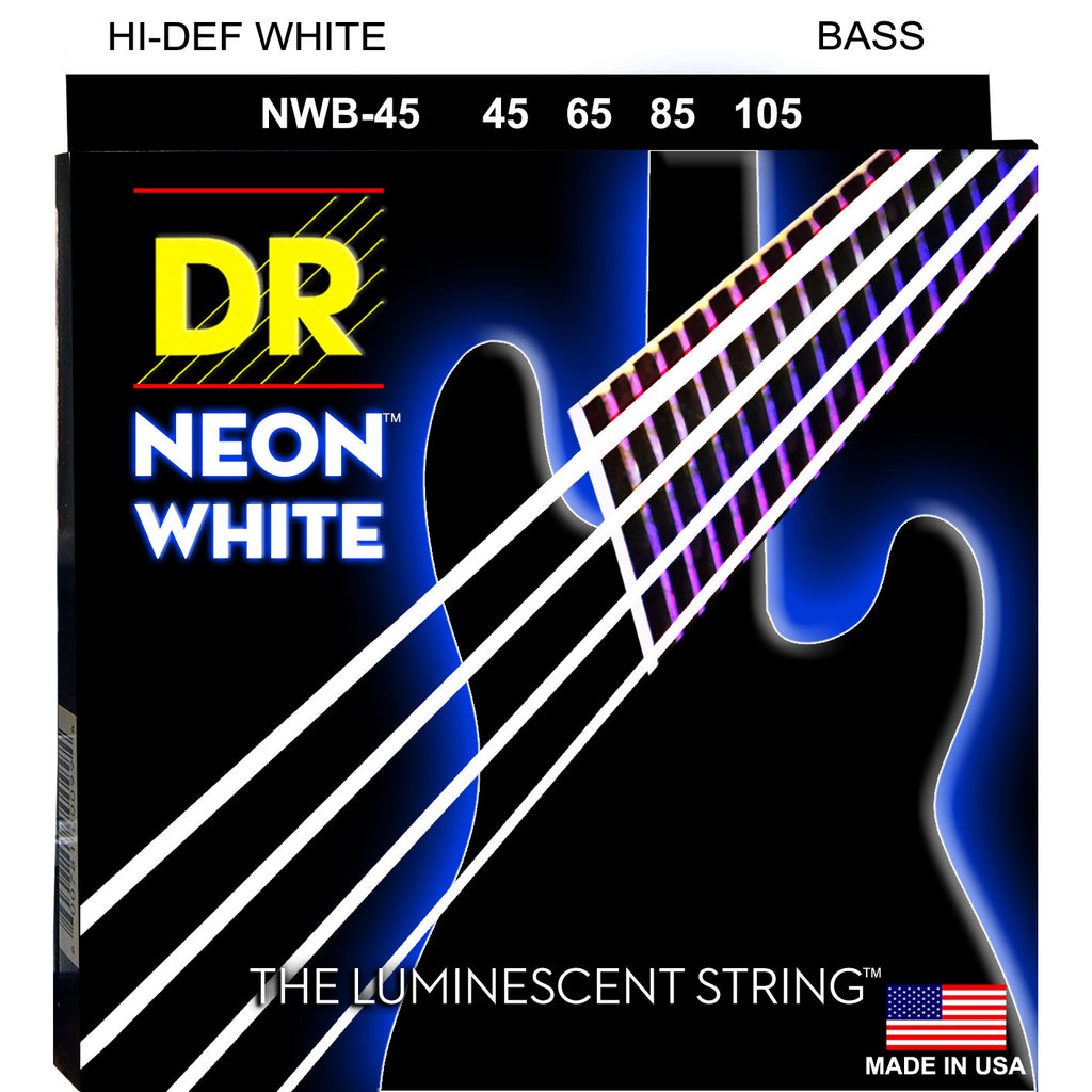 DR Strings NWB-45 Hi Def Neon White Medium 45-105 Bass Guitar Strings