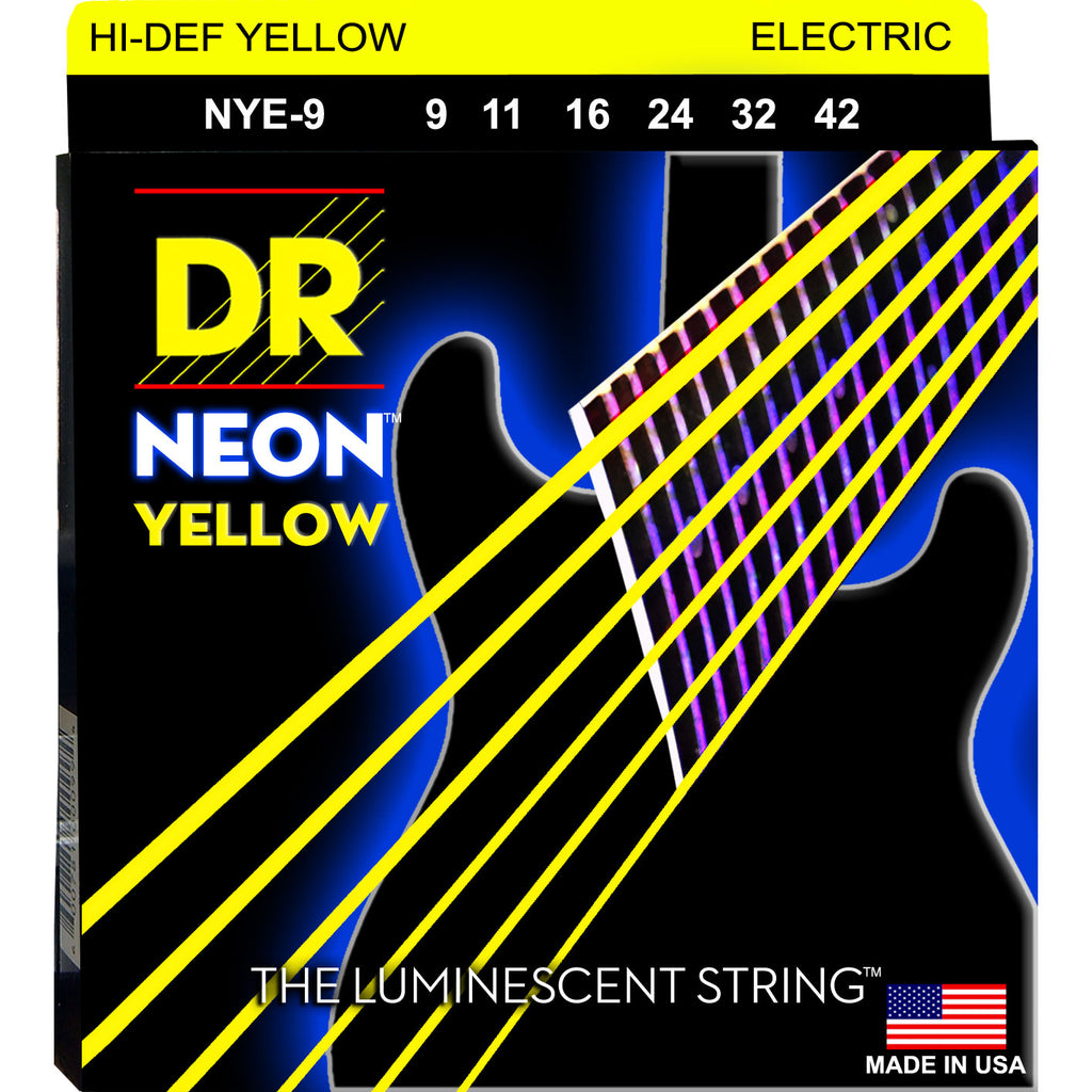 DR Strings NYE-9 Neon Hi-Def Yellow Light 9-42 Electric Guitar Strings