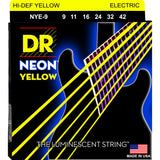 3 Sets DR Strings NYE-9 Neon Hi-Def Yellow Light 9-42 Electric Guitar Strings