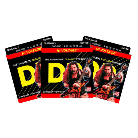 3 Sets DR DBG-9/46 Dimebag Darrell Signature Lite N Heavy, 9-46, Electric Strings