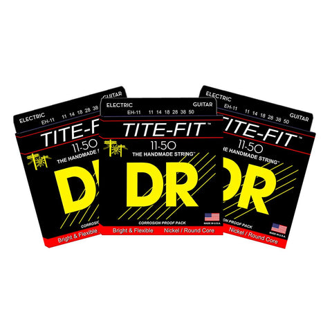 3 Sets DR Strings EH-11 Tite-Fit Extra Heavy 11-50 Electric Guitar Strings