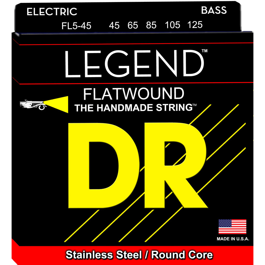 DR FL5-45 Legend Medium 45-125 5-String Flatwound Bass Strings