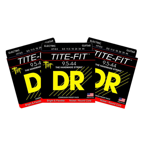 3 Sets DR Strings HT-9.5 Tite-Fit Half Tite 9.5-44 Electric Guitar Strings