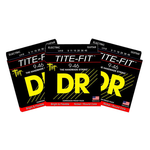 3 Sets DR Strings LH-9 Tite-Fit Light & Heavy 9-46 Electric Guitar Strings