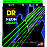3 Sets DR Strings NGE-10 Neon Hi-Def Green Medium 10-46 Electric Guitar Strings