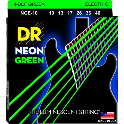 DR Strings NGE-10 Neon Hi-Def Green Medium 10-46 Electric Guitar Strings