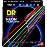 3 Sets DR Strings NMCA-11 Neon Multicolor Medium Light 11-50 Acoustic Strings