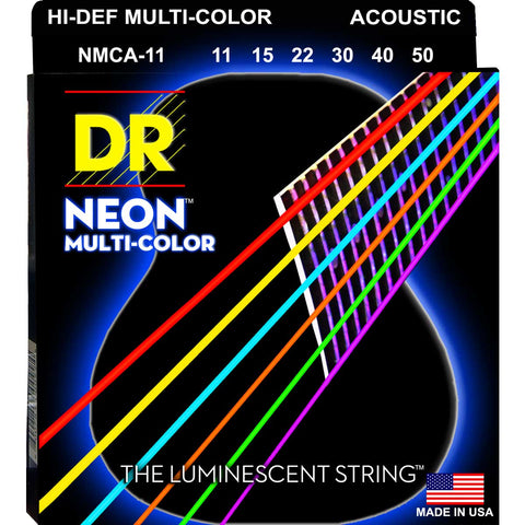 DR Strings NMCA-11 Neon Hi-Def Multicolor Medium Light 11-50 Acoustic Guitar Strings