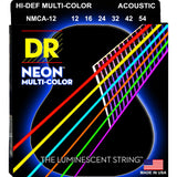 3 Sets DR Strings NMCA-12 Neon Hi-Def Multicolor Medium 12-54 Acoustic Strings