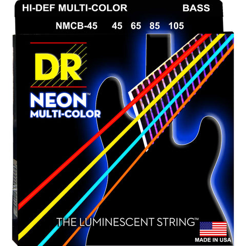 DR Strings NMCB-45 Neon Hi-Def Multicolor 4 String Medium 45-105 Bass Guitar Strings