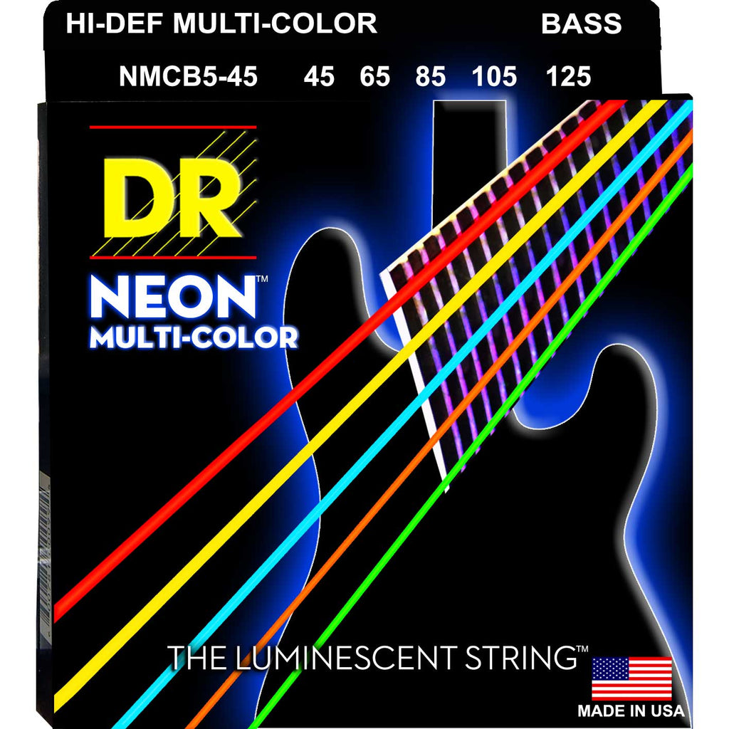 DR Strings NMCB5-45 Neon Hi-Def Multicolor 5 String Medium 45-125 Bass Guitar Strings