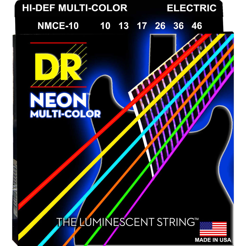 DR Strings NMCE-10 Neon Hi-Def Multicolor Medium 10-46 Electric Guitar Strings