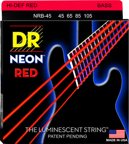 DR Strings NRB-45 Neon Red Medium 45-105 Bass Strings