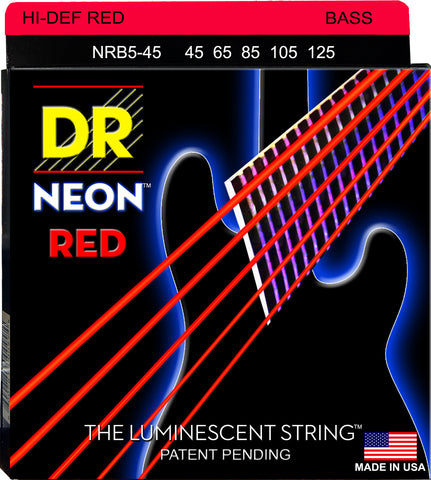 DR Strings NRB5-45 5-String Neon Red Medium 45-125 Bass Strings