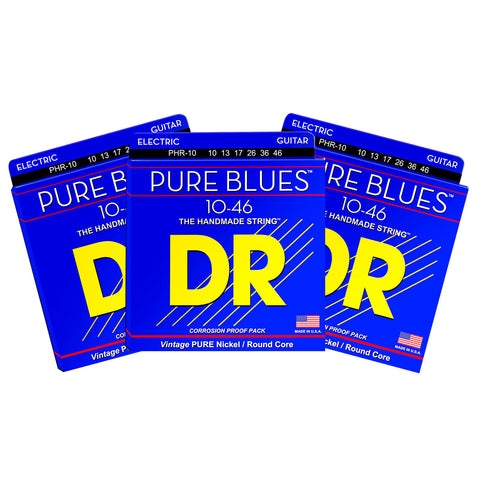 3 Sets DR Strings PHR-10 Pure Blues Medium 10-46 Electric Guitar Strings