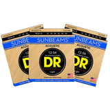 3 Sets DR Strings RCA-12 Sunbeam Light 12-54 Phosphor Bronze Acoustic