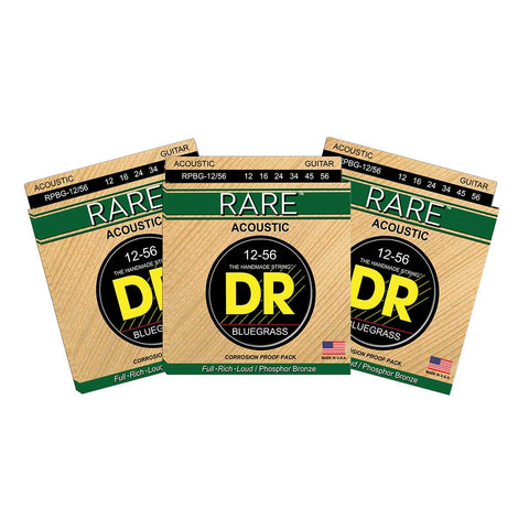 3 Sets DR Strings RARE RPBG Bluegrass 12-56 Phosphor Bronze Acoustic Strings