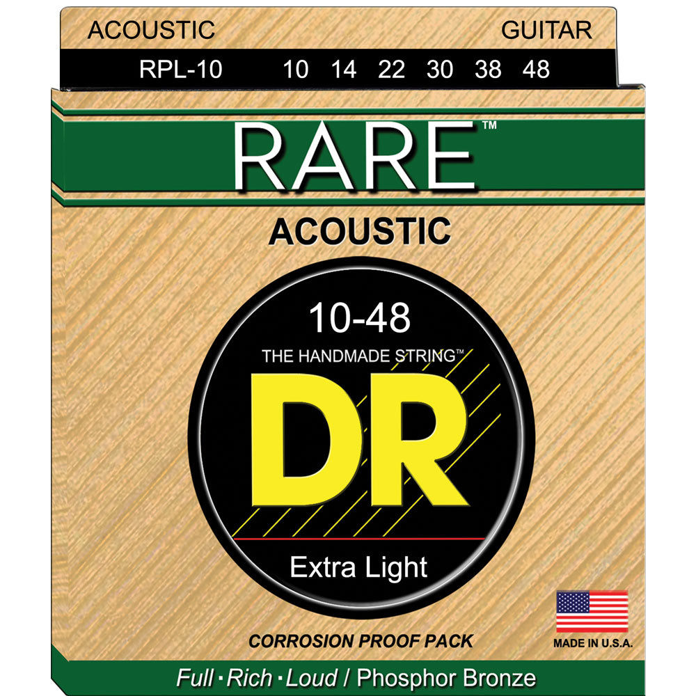 DR Strings RARE RPL Light 10-48 Phosphor Bronze Acoustic Guitar Strings