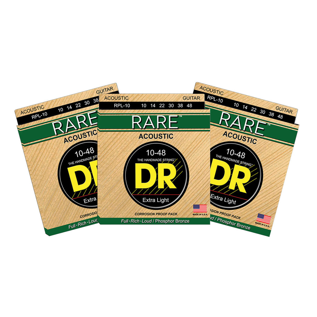 3 Sets DR Strings RARE RPL Light 10-48 Phosphor Bronze Acoustic Guitar Strings