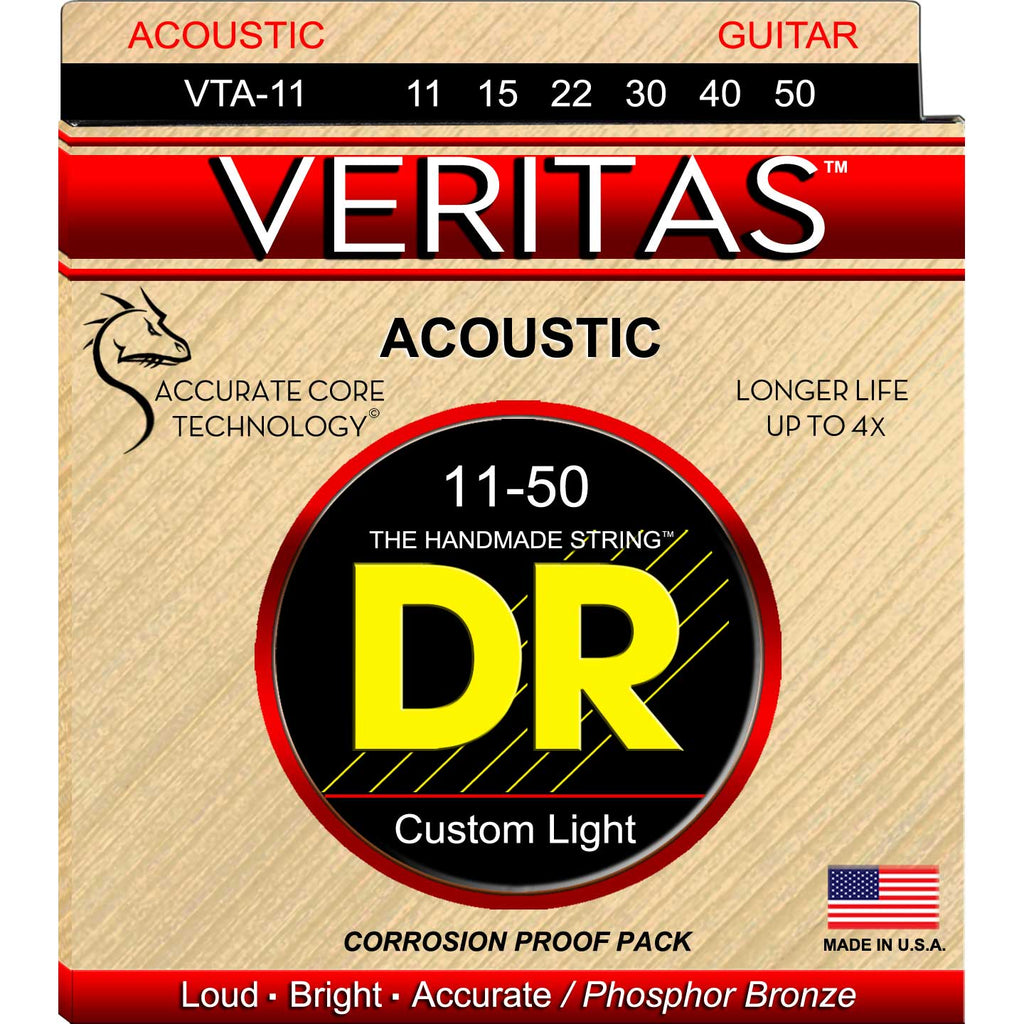 DR Strings VTA-11 Veritas Phosphor Bronze Extra Light 11-50 Acoustic Strings
