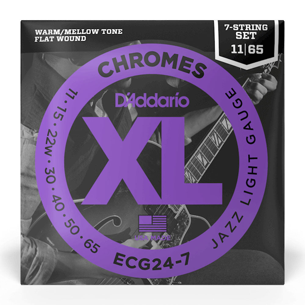 D'Addario ECG24-7 Chromes Flatwound Jazz Light 11-65 Electric Strings