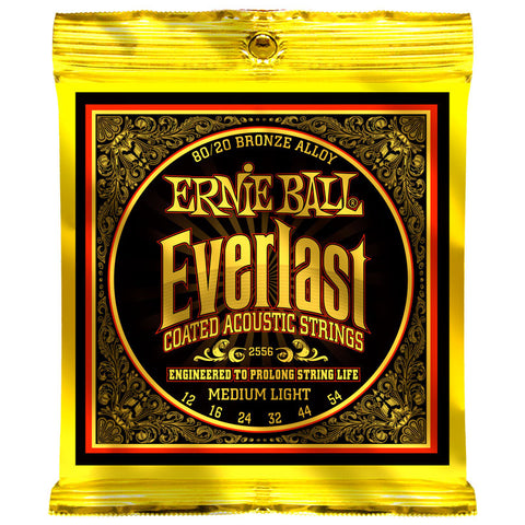 Ernie Ball 2556 Coated 80/20 Bronze Slinky Medium Light 12-54 Acoustic Guitar Strings