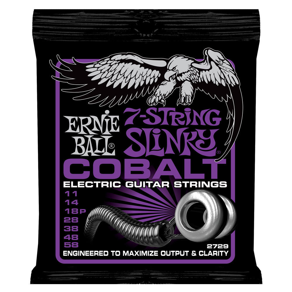 Ernie Ball 2729 7-String Slinky Cobalt 11-58 Electric Guitar Strings