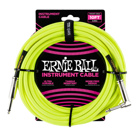 Ernie Ball 6080 10' Braided Neon Yellow Straight to RA Instrument Cable