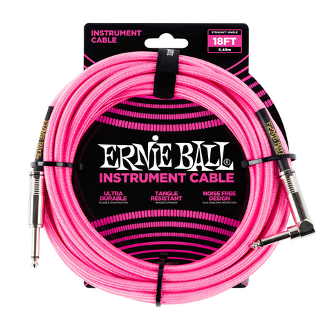 Ernie Ball 6083 18' Braided Neon Pink Straight to RA Instrument Cable