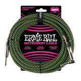 Ernie Ball 6077 10' Braided Black/Green Straight to RA Instrument Cable