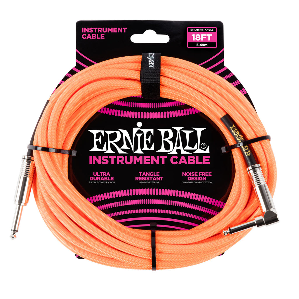 Ernie Ball 6084 18' Braided Neon Orange Straight to RA Instrument Cable