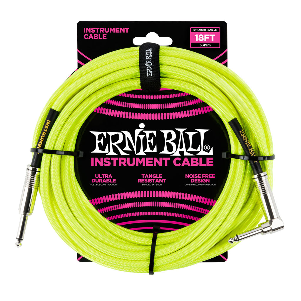 Ernie Ball 6085 18' Braided Neon Yellow Straight to RA Instrument Cable