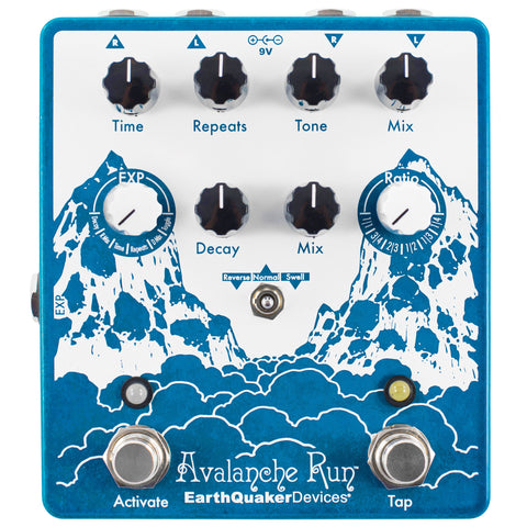 EarthQuaker Avalanche Run V2 Stereo Reverb & Delay Pedal with Tap Tempo