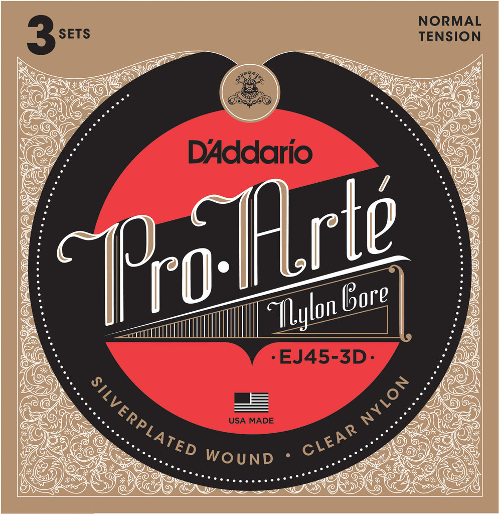 3 Pack D'Addario EJ45 Pro Arte Nylon, Normal Tension, 28-43, Classical Guitar Strings (EJ45-3D)