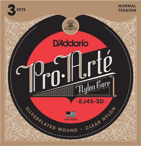 3 Pack D'Addario EJ45-3D Pro Arte Nylon Normal Tension Classical Strings