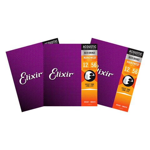 3 Sets Elixir 11077 Nanoweb Light Medium 12-56 80/20 Bronze Acoustic Strings