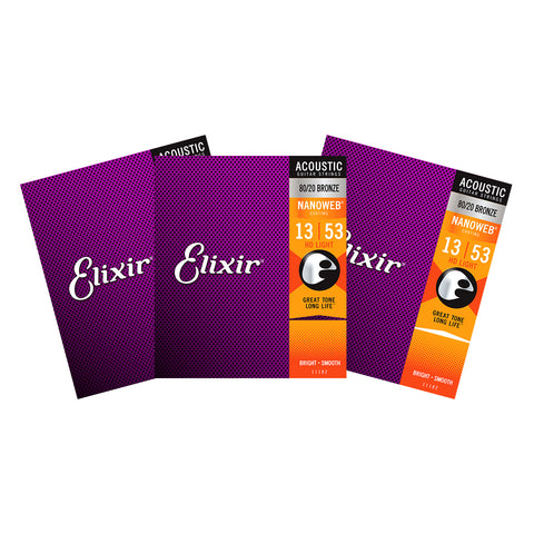 3 Sets Elixir 11182 Nanoweb HD Light 13-53 80/20 Bronze Acoustic Strings