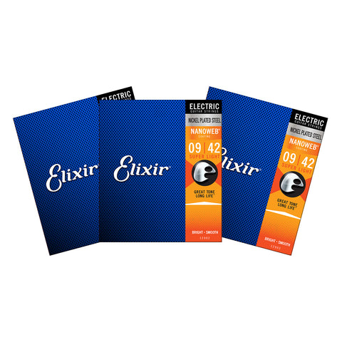 3 Sets Elixir 12002 Nanoweb Super Light 9-42 Electric Guitar Strings