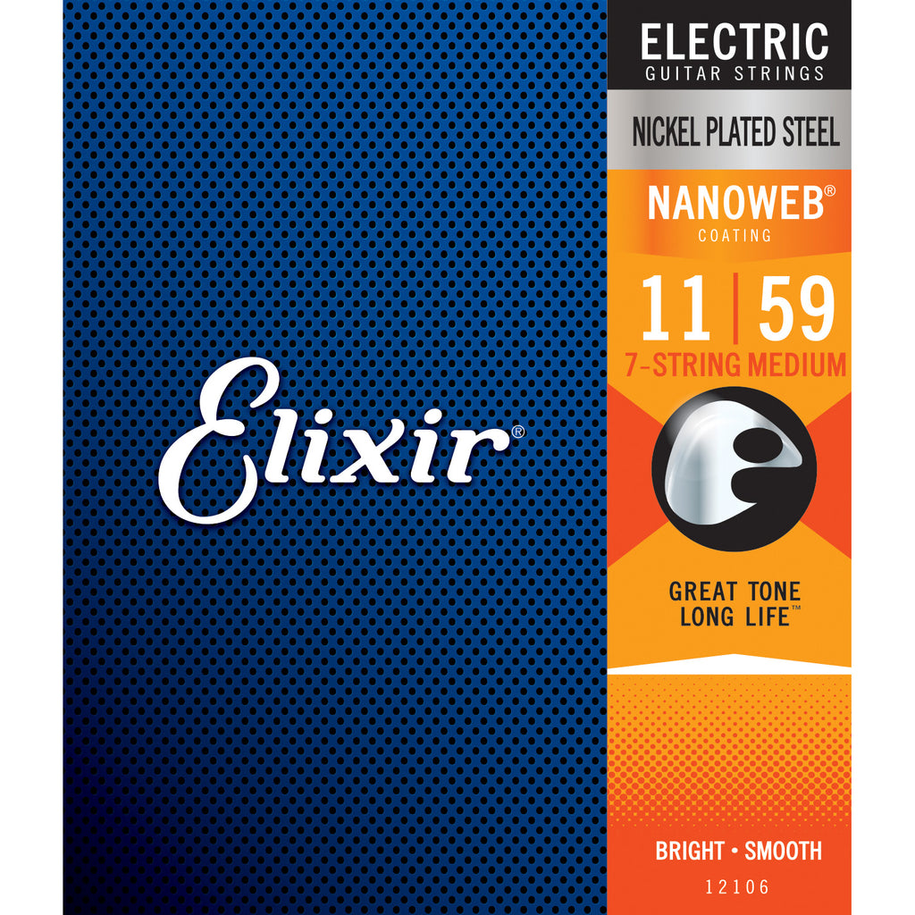 Elixir 12106 7-String Medium 11-59 NANOWEB Electric Guitar Strings