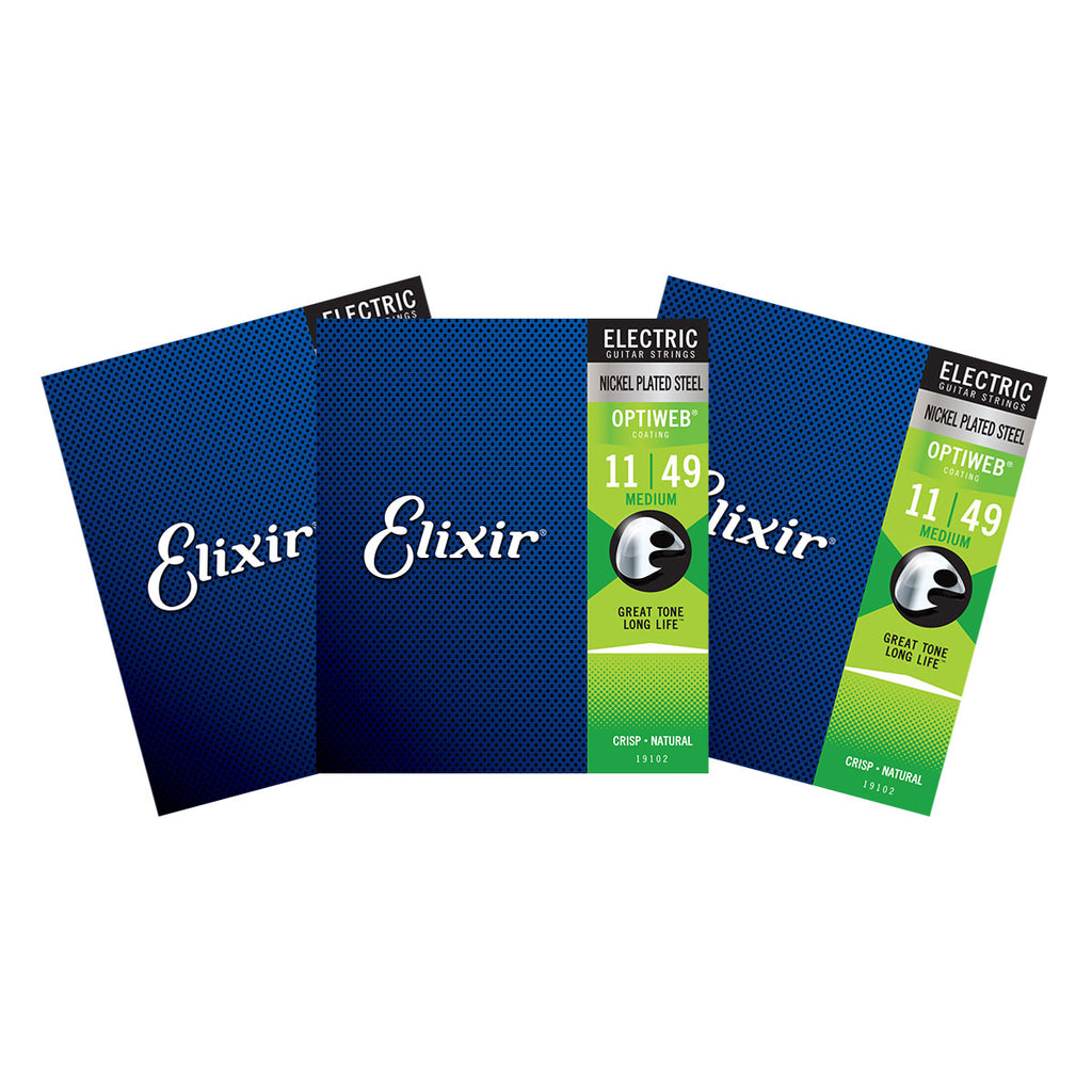 3 Sets Elixir 19102 Optiweb Medium 11-49 Electric Guitar Strings
