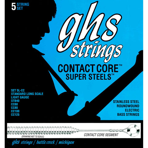 "GHS 5L-CC Contact Core Super Steels Light 40-125 5 String (36.5"" winding)"