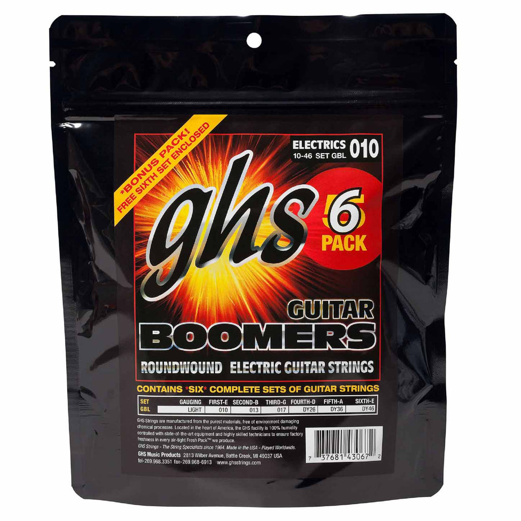 6 Sets GHS GBL Boomers Light 10-46 Nickel-Plated Electric Strings
